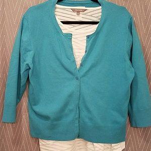 Turquoise 3/4 Sleeve Cardigan